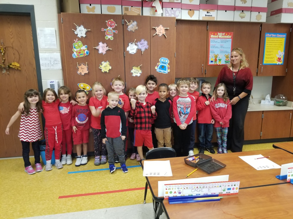 Mrs. Kehl's Kindergarten class showing their unity in RED!
