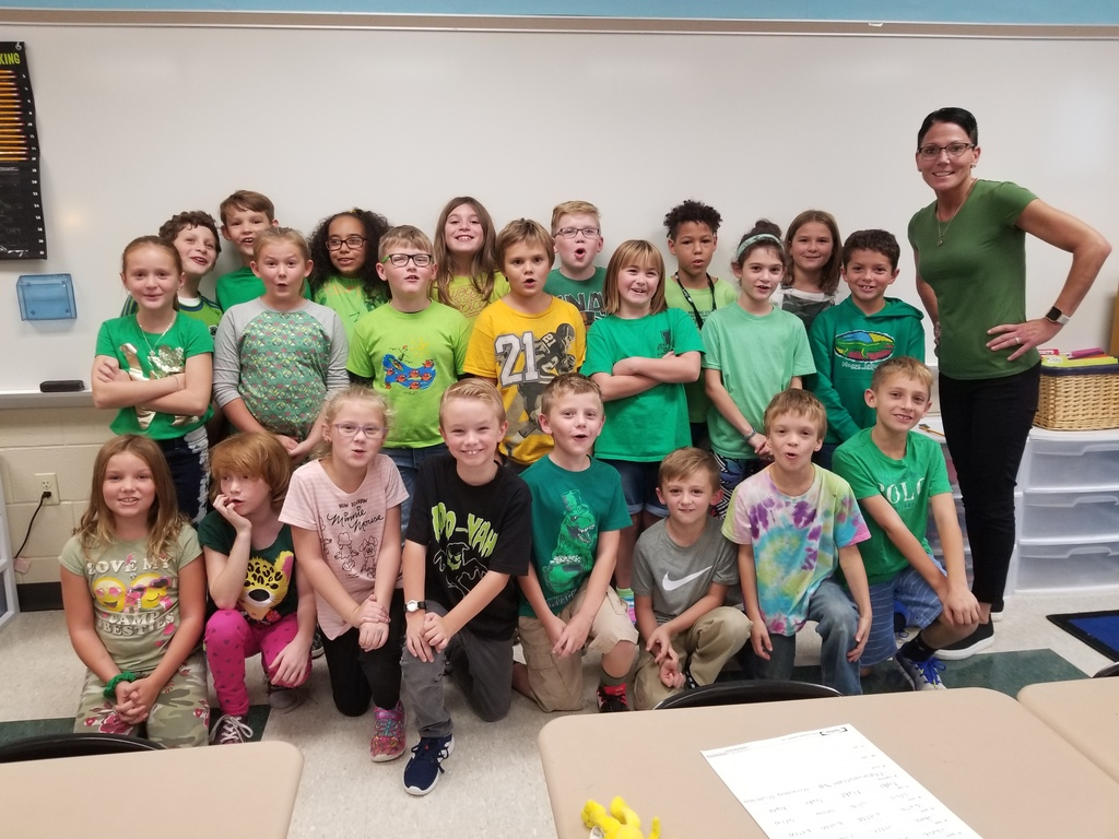 Mrs. Eberlein's 3rd grade class showing their unity in GREEN!