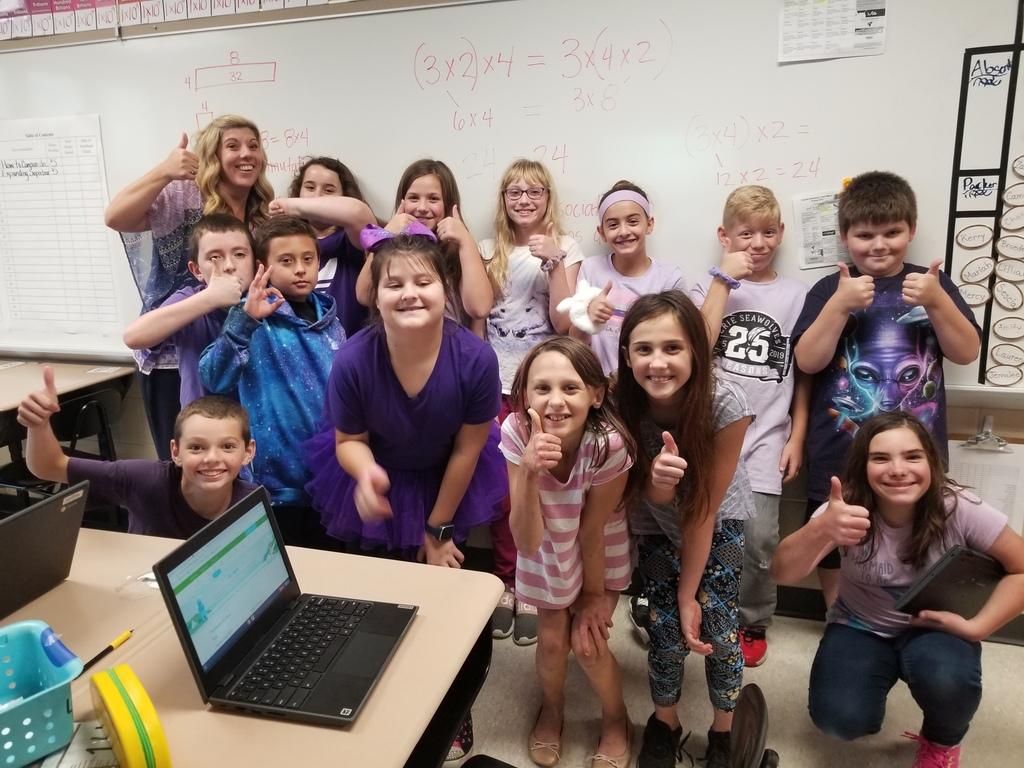 Mrs. Luke's 5th grade class showing unity in PURPLE!