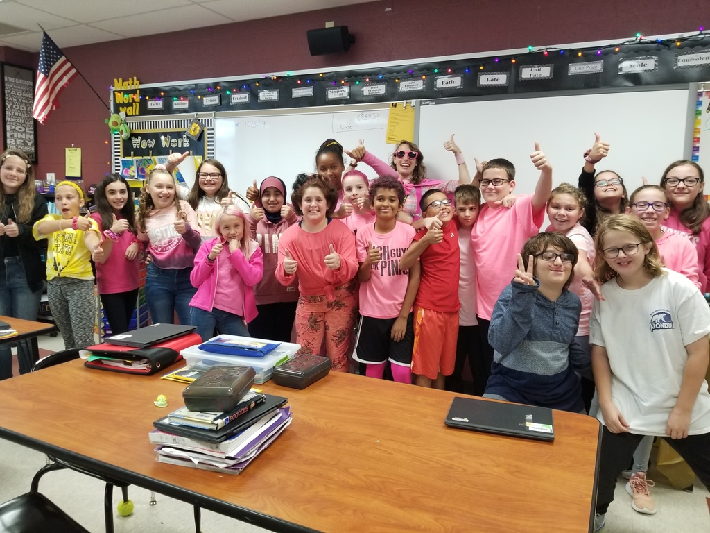 Miss Durante's 6th grade class showing unity in PINK!