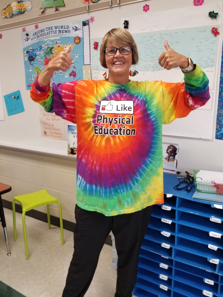 Mrs. B supports ALL grade levels in her rainbow tye-dye!