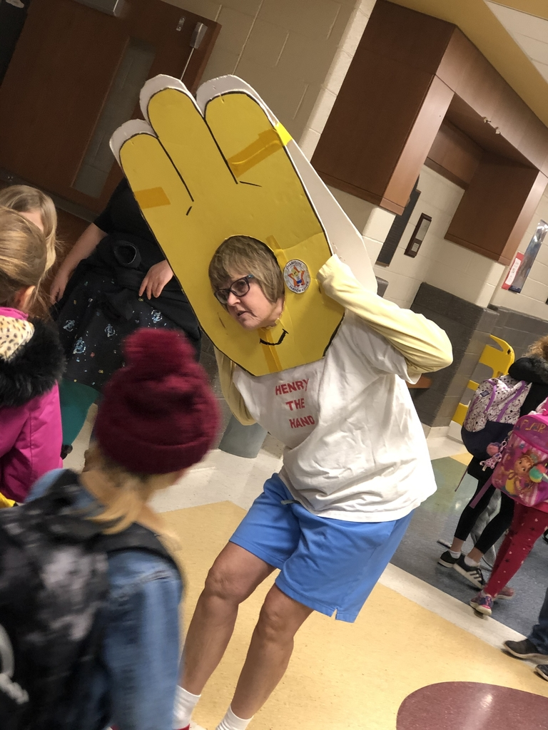Henry the Hand greets students at the greatest elementary school on the planet!